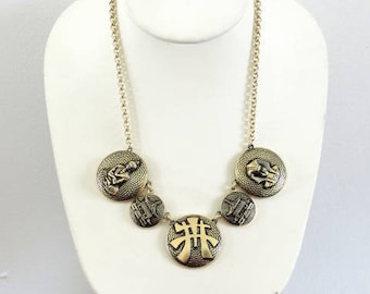 Signed Asian Egyptian Figural Necklace Vintage
