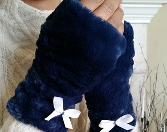 Navy Faux Fur Half Mittens, Fingerless Gloves