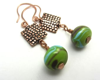 Snakeskin copper beaded EARRINGS, lime green lamp work beads, Complete matching set is available with 10% off