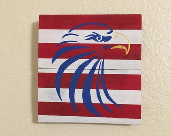 Reclaimed Wood American Eagle Flag