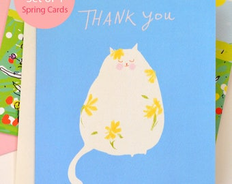 Spring Cards - Mixed Set of 4 - Spring Cat Cards