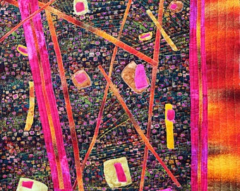 An abstract art quilt wall hanging, the bold color has gold metallic highlights. The colors are fuchsia, teal gold. Original art .