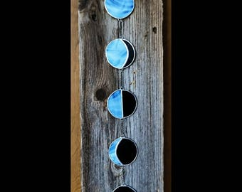 Blue moon phase, stained glass, wall hanging