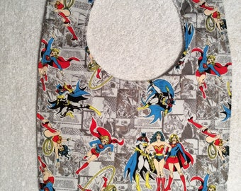 Wonder Woman, Super Girl and Bat Girl Baby Bibs