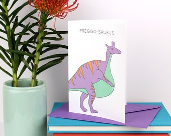 Pregnancy Card, Dinosaur Pregnancy Card, Preggosaurus, pregnant, congratulations, cards for her, new mum, new baby, funny cards, dinosaur