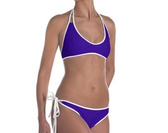 Deep Navy Blue and White Bikini