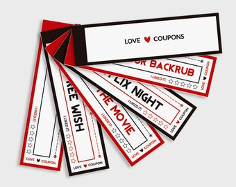 Love Coupon Book, Valentine Gift for Him, 14 Printable Coupons for Boyfriend, Printable love vouchers, Gift Vouchers