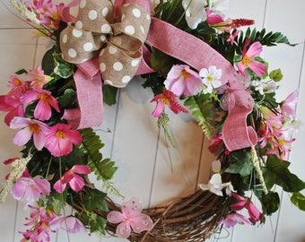 Everyday Wreath, Cottage Wreath, Summer Wreath, Wedding Wreath, Spring Wreath, Pink Foral Wreath, Burlap Wreath, Door Wreath, Door Wreath