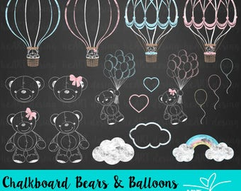 Chalkboard Bears and Balloons Clipart / Digital Clip Art for Commercial and Personal Use / INSTANT DOWNLOAD