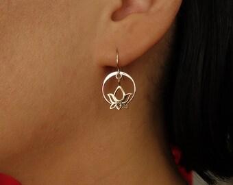 Travel Gift, Lotus Earrings, Bronze and Silver Circle Earrings,bridesmaid gift,bridal shower, wedding gift,tiny lotus,om lotus,