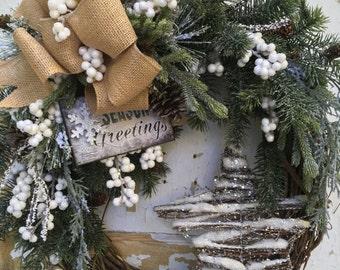 Christmas Wreath for front door- Winter Wreath, Holiday Wreath, Christmas door decor, Christmas Star Wreath, White Christmas Wreath
