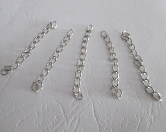 10 chains of extension - matte silver chain extension 5 cm