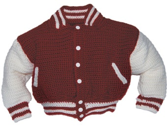 Baseball Jacket Crochet Pattern, Baby Crochet Patterns, Crochet Pattern Baby