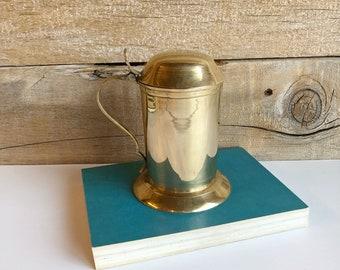 Brass stein with lid. Brass mug.