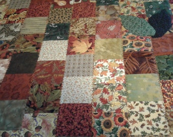 Blocks of Autumn Leaves wall hanging or table topper