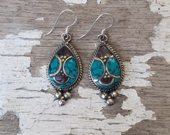 Tibetan Earrings , Turquoise & Coral Earrings ,  Nepalese Earrings , Boho Turquoise Earrings