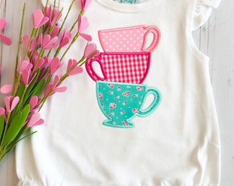 Personalized Stacked Teacups Applique Shirt