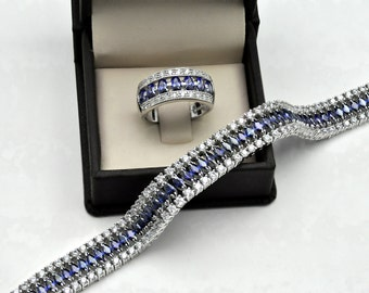 Stunning Tanzanite Marquises Bracelet And Ring Set  34.5gr.925 Sterling Silver