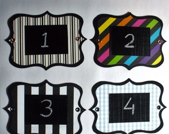 Lined Chalkboard Labels - multi-use, colourful and re-usable with metal eyelets. Set of 6