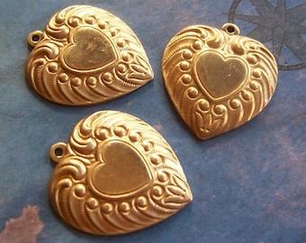 4 PC Raw Brass Victorian  Heart Charm/Jewelry Finding - P0353