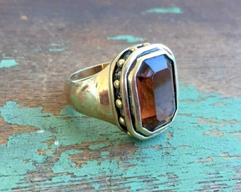 Vintage Large Chunky Victorian Revival Ring Amber Glass Gold Tone