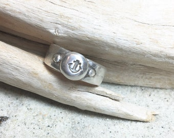 Customize a Sterling Silver Antiqued Anchor Ring