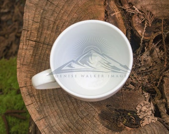 A Coffee Mug on a Tree Trunk Digital Download Stock Photography