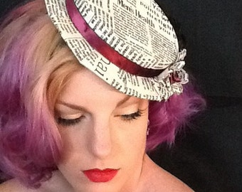 Womens Boater Hat - Tilt Hat - Yesterdays News
