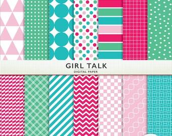 Digital Scrapbook Paper -  Girl Talk - Pink Green Blue - Personal Commercial  Instant Download Cardstock P7157