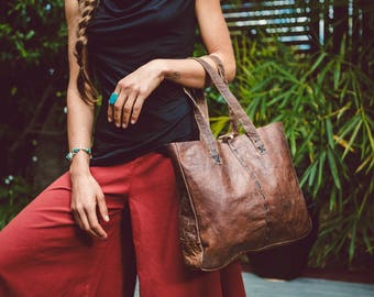 Organic, Raw Buffalo Leather Shopping Tote | Rustic Leather Shopping Bag