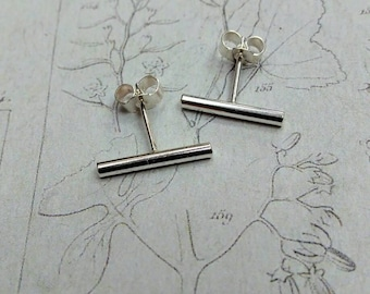 Polished finish bar studs Sterling Silver