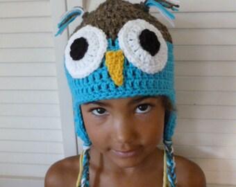Crocheted Owl Earflap Hat
