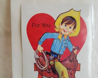 Two (2) Different Vintage Valentine Cards, Unused, with Envelopes, Cowboy and Football Player