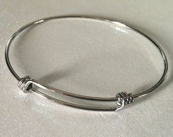 6 - 60mm Solid Stainless Steel Expandable Silver Bangle Bracelets, Adjustable Triple Loop Bangles FAST SHIPPING