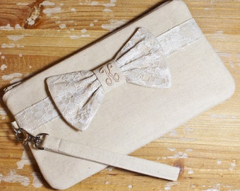 Linen and Lace Bow Clutch - Personalized Bridesmaid Clutch - Wedding