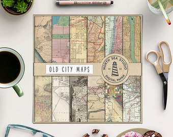 LOST IN, City Maps Digital Paper, Vintage Map Backgrounds, Old Map Patterns, Scrapbook Paper, Instant Download, Coupon Code: BUY5FOR8
