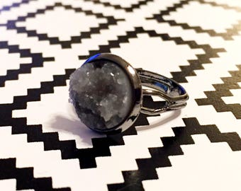 Grey Druzy Ring - Gunmetal Setting