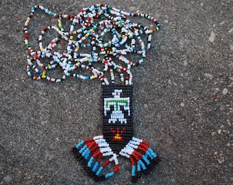 Vintage Native Beadwork Necklace, Thunderbird Necklace, Bird Necklace, Bird Jewelry, Boho Jewelry, Bohemian Jewelry, Tribal Necklace,