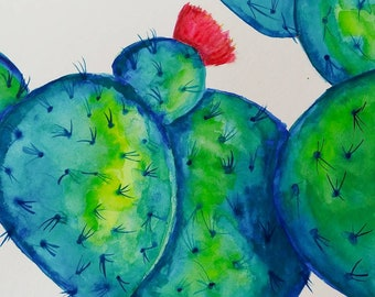 Prickly pear cactus - watercolor original 5 x 7