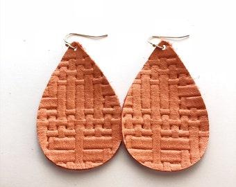 Pink Basetweave Leather Earring