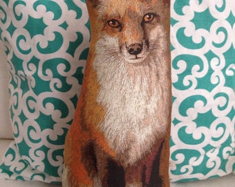 RED FOX PILLOW -wild critters animal pillow - cute fox stuffed toy or pillow - country Cottage Prim