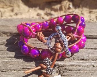 Pink/Purple Splatter Leather Double Wrap Beaded Bracelet