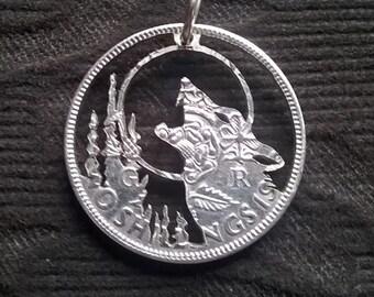 Howling Wolf Moon Hand Cut Coin Pendant