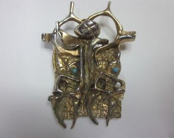 Vintage Israel Artisan Tumarkin Modernist Brooch Pendant