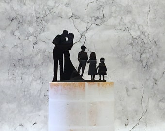 Family Wedding Cake Topper, Silhouette Cake Topper with 3 Children, Bride Groom and 3 Children, Couple Silhouette with Boy and 2 girls