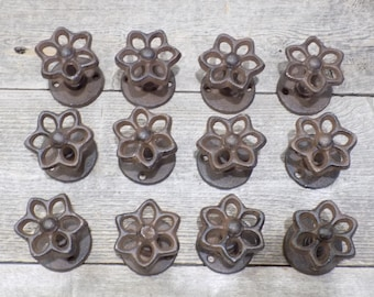 12 Cast Iron Faucet Knob Spigot Flower Hook Hydrant Coat Hat Drawer Pull Door Cabinet Closet Entry Way Mud Room Cabin Hall Tree Sweater Rack