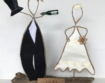 Wedding Gift Quirky Just Married Primitive Wire Sculpture Present Family Bride and Groom