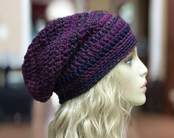 Blues, Purples and Pinks Slouchy Crochet Hat