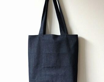 Dark Blue Denim Tote Bag - Books Bag - Magazines Tote Bag - New York Tote Bag - Tote Bag