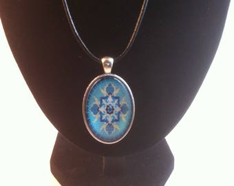 Boho Blue kaleidoscope print pendent Necklace on a leather cord, handmade